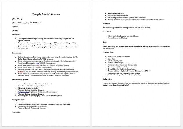 Model Resume Examples. Freshers Resume Sample Pdf 28+ Resume ...