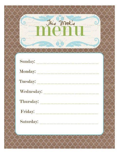 20 Free Menu Planner Printables | Page 6 of 10 | Fab N' Free