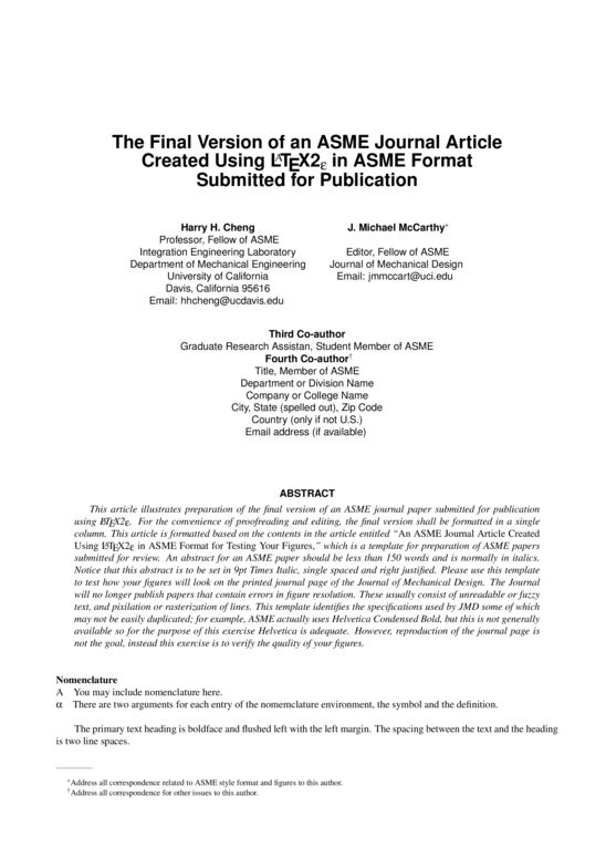 ASME Journal Paper - LaTeX Template - ShareLaTeX, Online LaTeX Editor