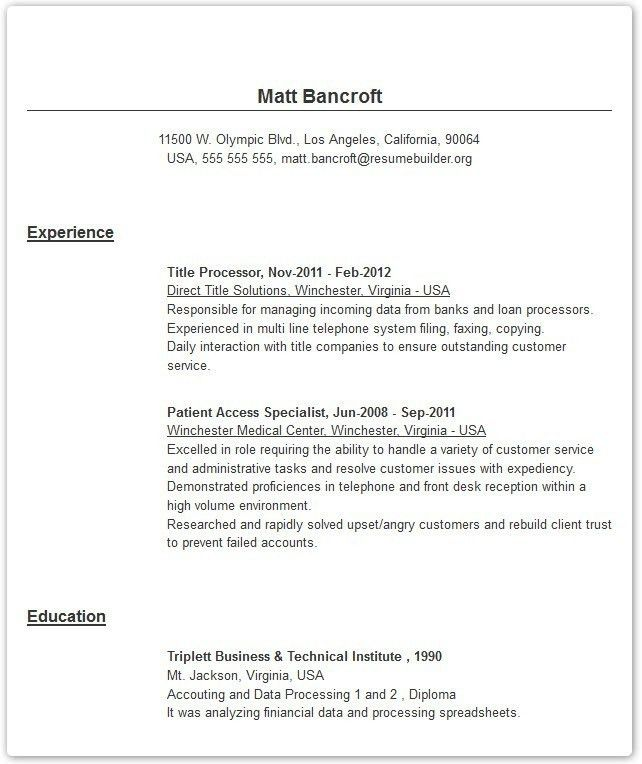Online Resume Examples | The Letter Sample