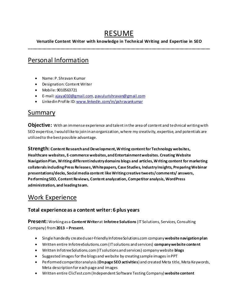 Versatile Content Writer with knowledge in Technical Writing and Expe…