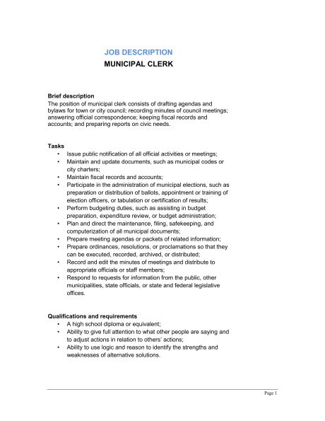 Office Clerk General Job Description - Template & Sample Form ...
