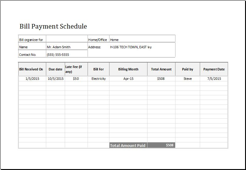 Bill Payment Schedule MS Excel Editable Template | Excel Templates