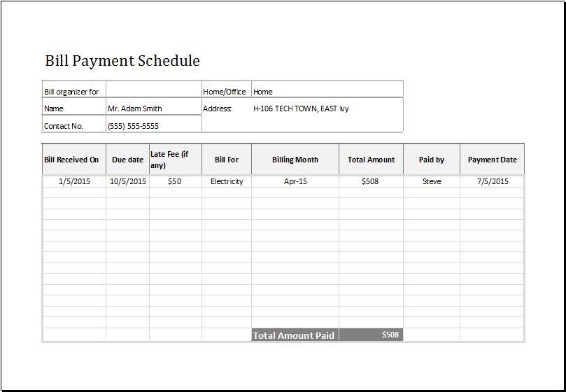 Bill payment schedule template at http://www.xltemplates.org/bill ...