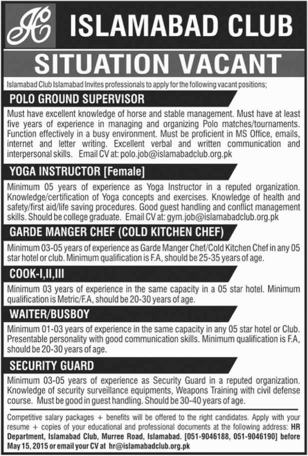 Manager Chef Job in Islamabad Club Islamabad, Polo Ground ...