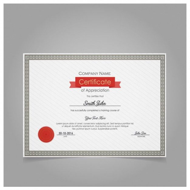 Diploma of appreciation template with red seal Vector | Free Download