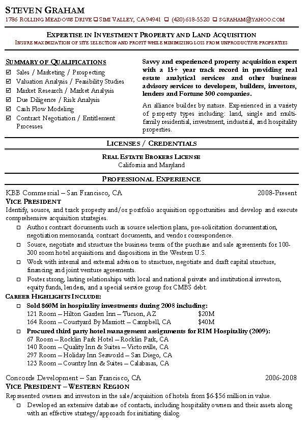 Property Acquisition Resume Sample: Real Estate Resumes