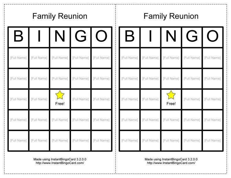 Reunion Activities | View Document | Family Reunion Bingo Cards ...