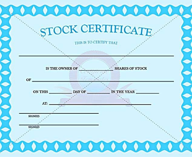 Blue Color Stock Certificate Template PDF , Stock Certificate ...