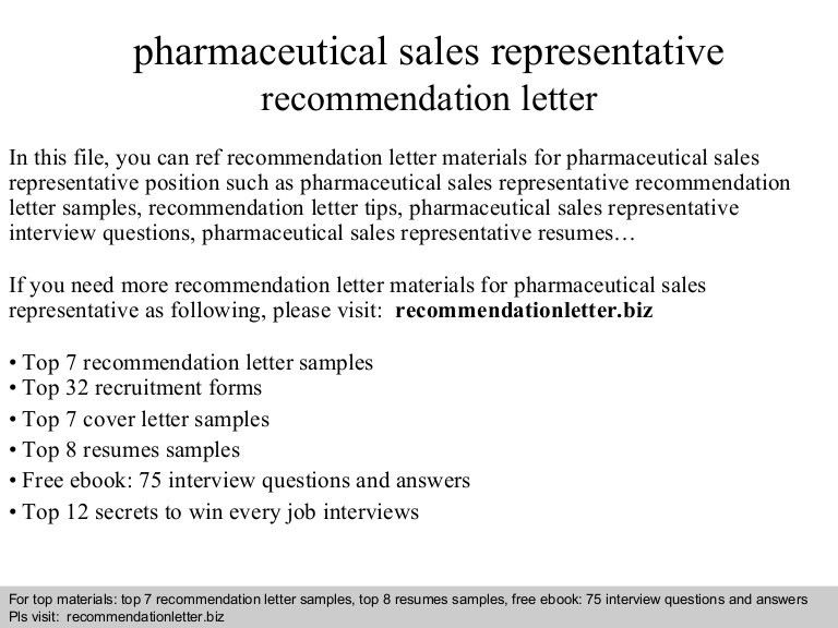 Pharmaceutical sales representative recommendation letter