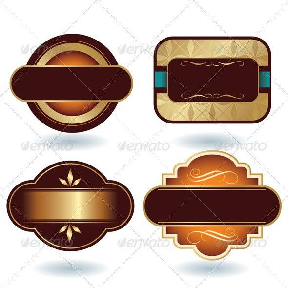 Brown Gold Labels Template by h4nk | GraphicRiver