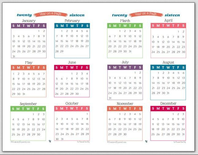 Printable 2016 Monthly Calendar Template