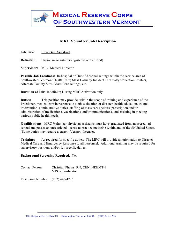 Physician Assistant Job Description. Assistant Resume Example ...
