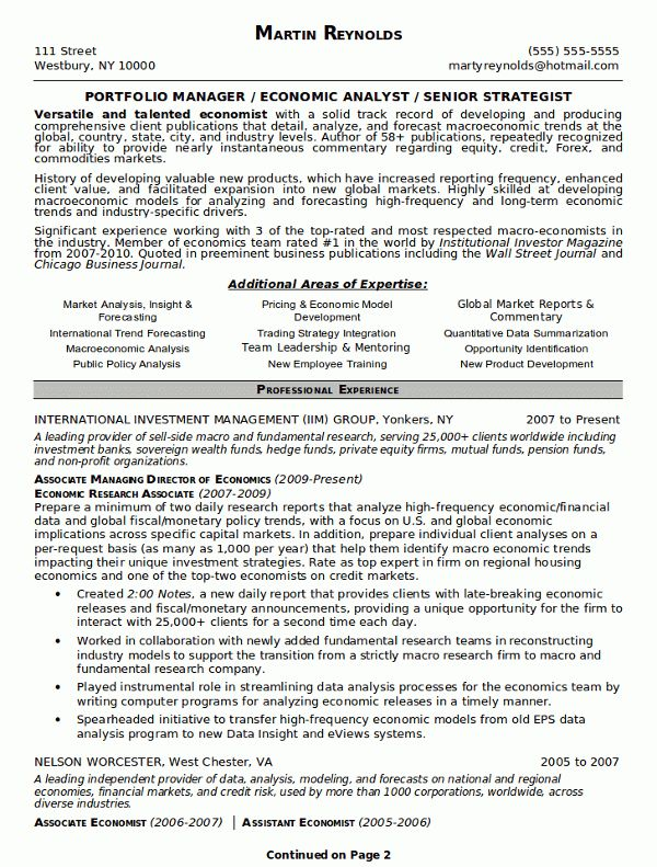 Resume Sample 18 - Portfolio Manager resume - Career Resumes