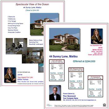Open house finance option flyers, FHA & VA loan calculations and ...