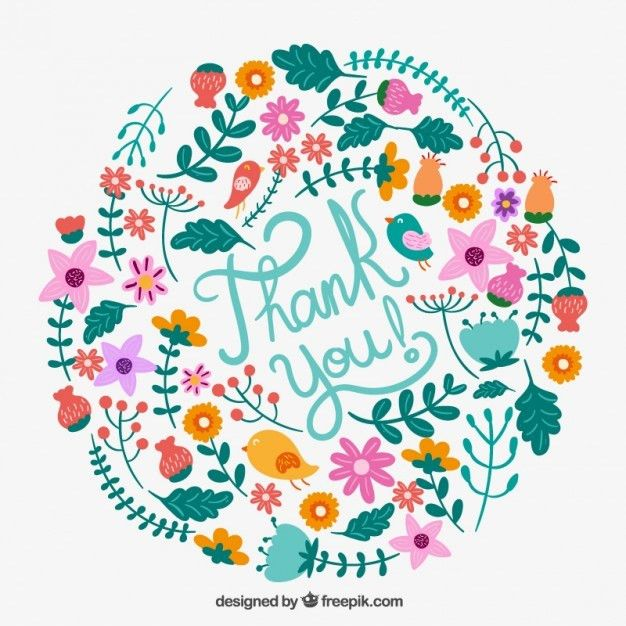 Floral thank you card Vector | Free Download