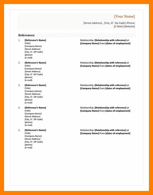 Reference Page For A Resume.free Microsoft Word Resume Templates ...