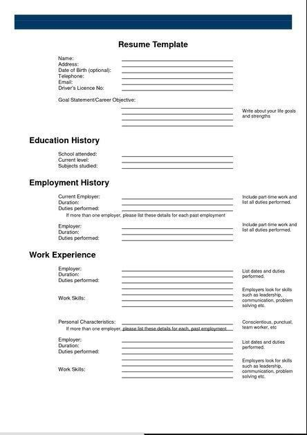 Free Printable Fill In The Blank Resume Templates. Free Resume ...