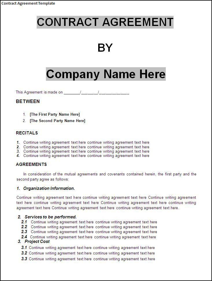 Independent Contractor Agreement Template. An Example Of Language ...