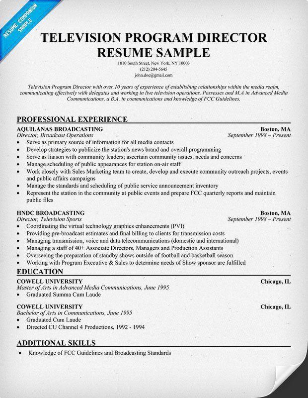 Television Program Director Resume Sample, Television Resume ...