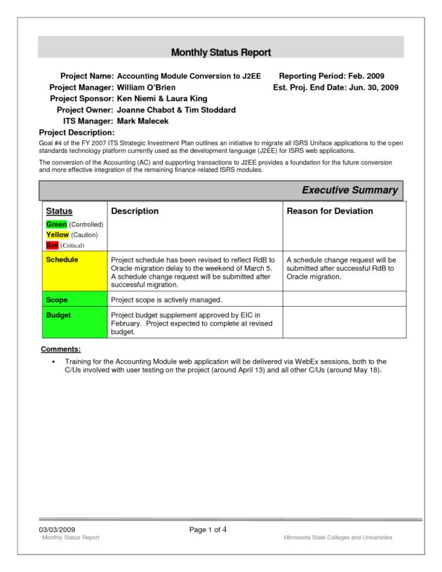 Monthly Status Report Template Format and Sample for Your Business ...