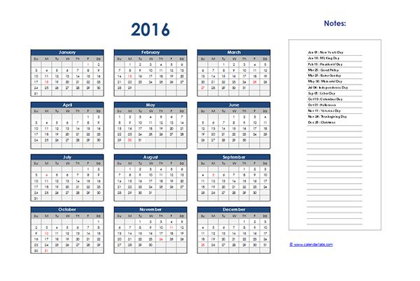 2016 Excel Yearly Calendar 01 - Free Printable Templates
