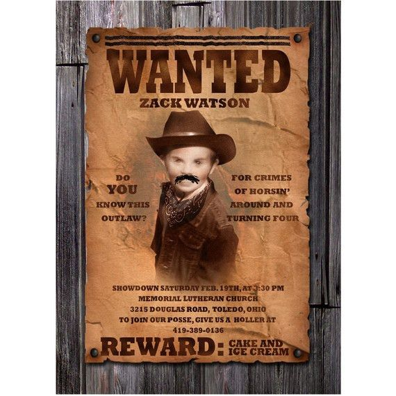 Wanted Poster Boy's Cowboy Birthday Invitation by inkdbykate ...