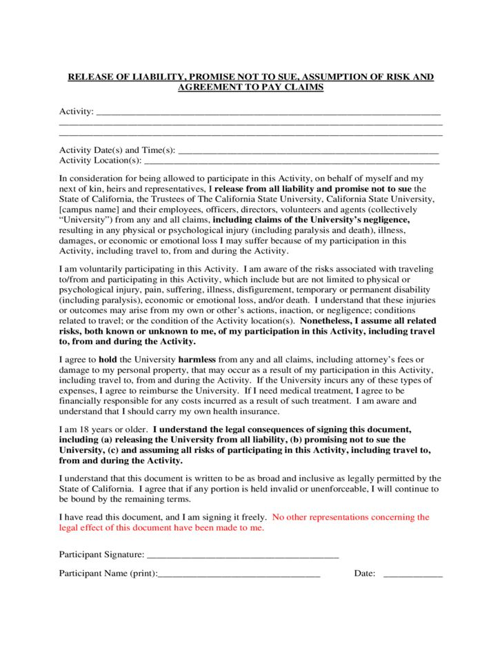 Release of Liability and Promise Not to Sue - California State ...
