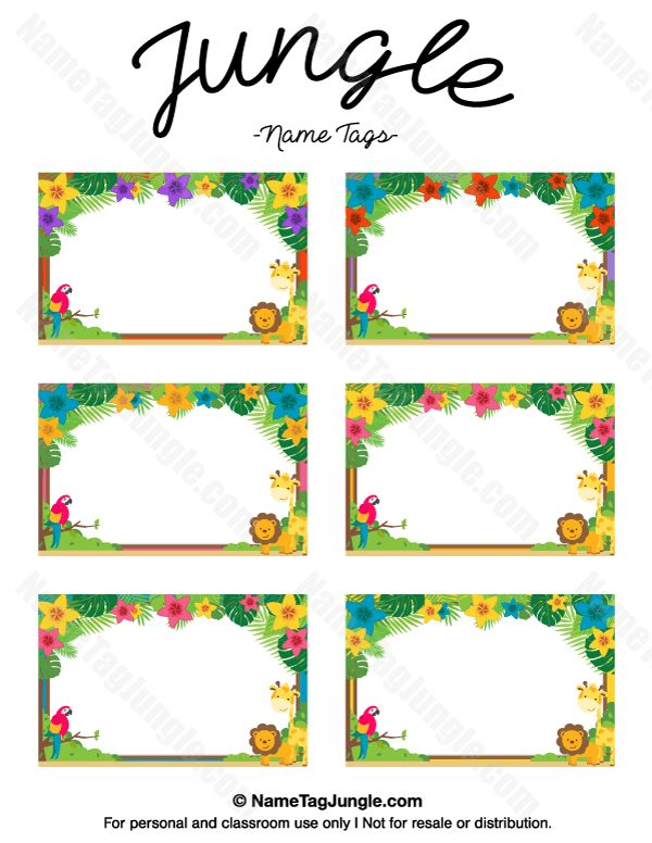 Free printable jungle name tags. The template can also be used for ...