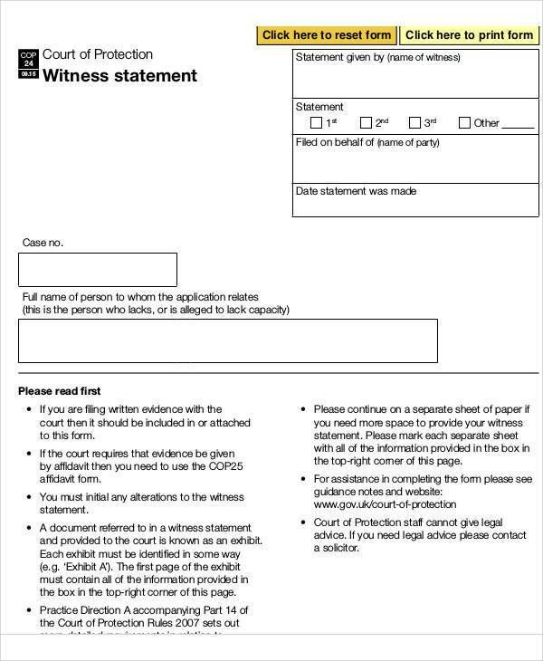 Statement Form  Affidavit Template Uk