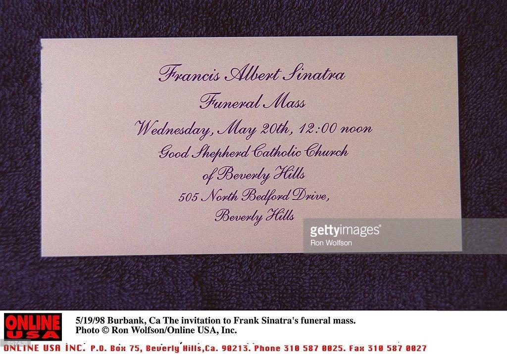 5/19/98 Burbank, Ca The invitation to Frank Sinatra's funeral mass ...