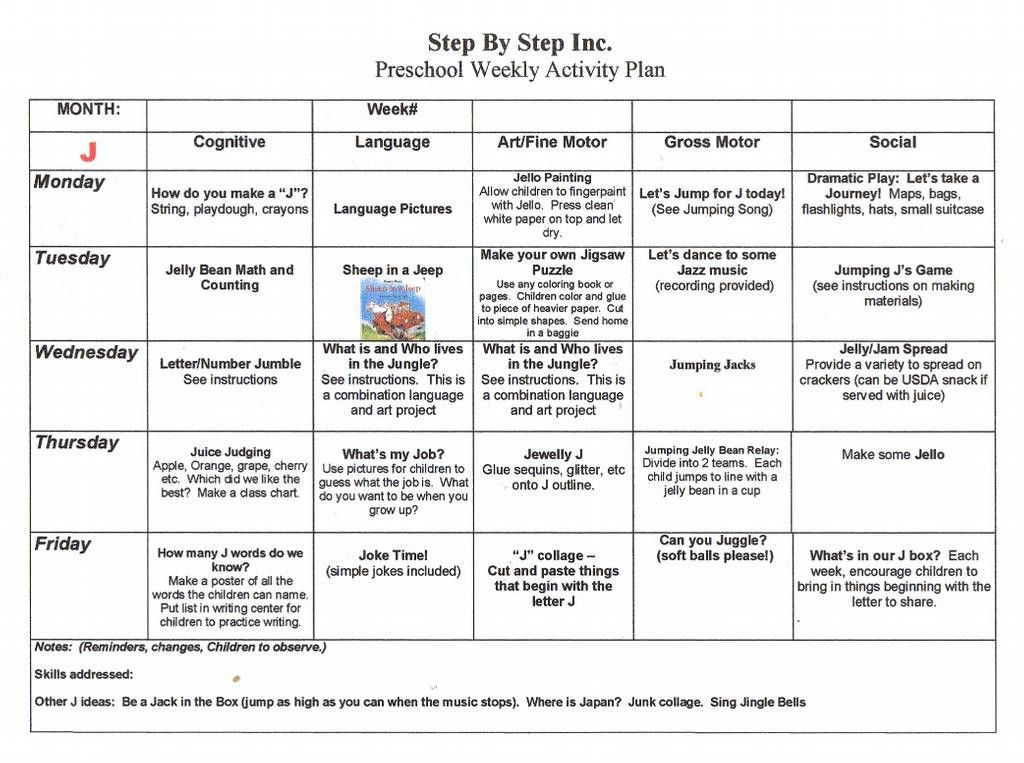 emergent curriculum preschool lesson plan template | Preschool ...