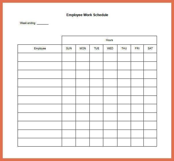 Work Schedule Template. Daily Schedule Free Printable Top 25+ Best ...