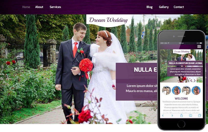 Dream Wedding a Wedding Planner Flat Bootstrap Responsive Web ...