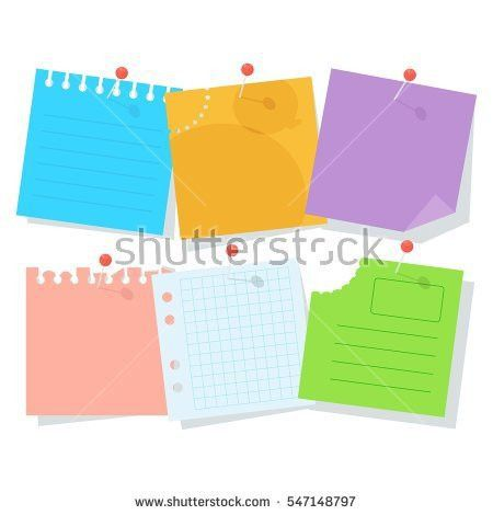 Set Bright Colored Pieces Paper Notes Stock Vector 547148797 ...