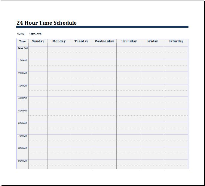 24 Hour Time Schedule Template | Word Document Templates