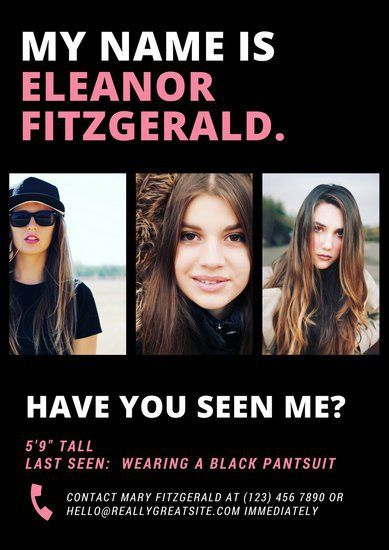 Pink White and Black Photo Grid Missing Person Poster - Templates ...