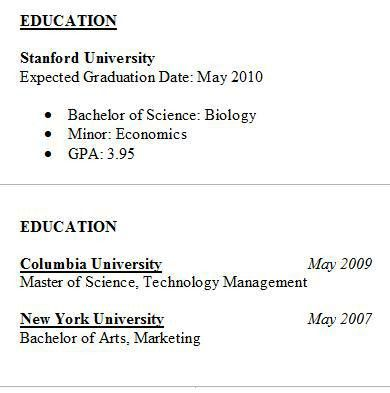 Resume Education - Tips & Samples