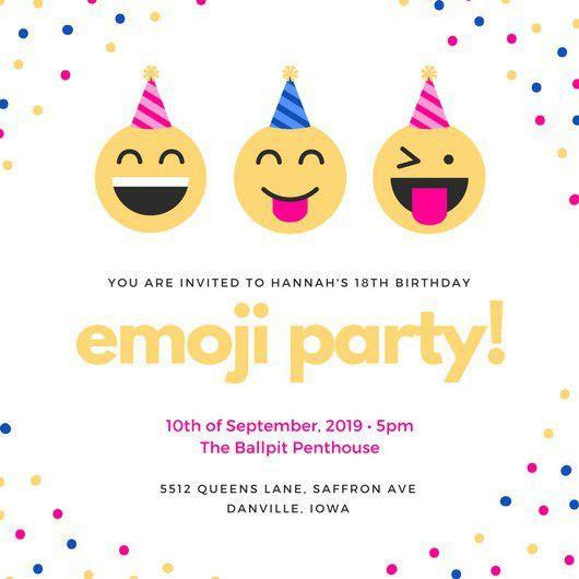 Colorful Emoji Confetti 18th Birthday Invitation - Templates by Canva
