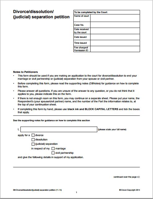 MS Word Divorce Application Form Template | Word Document Templates