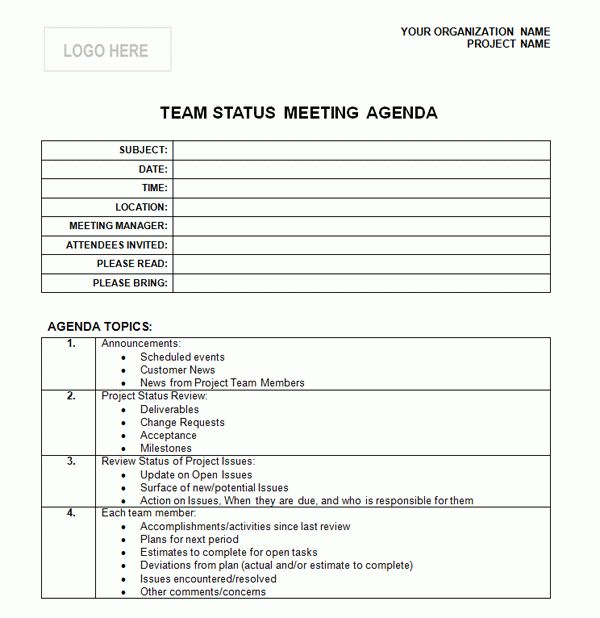 one on one meeting agenda template free | Professional Templates