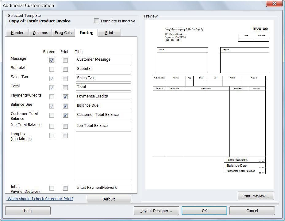 commercial invoice template quickbooks | Free Invoice