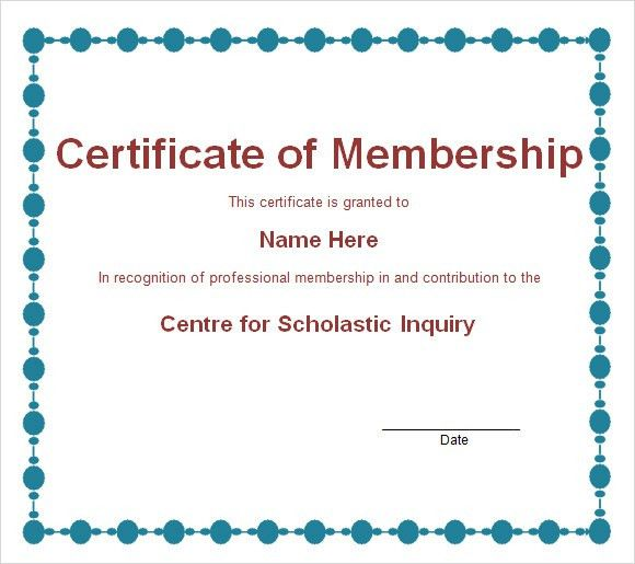 Membership Certificate Template   9+ Free Sample, Example, Format