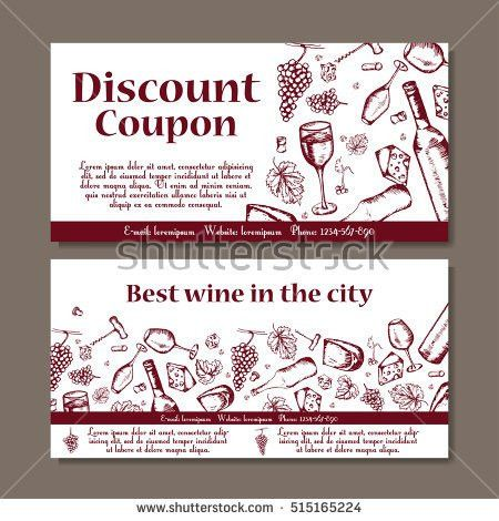 Vector Coupon Template Beverages Set Wine Stock Vector 515165233 ...