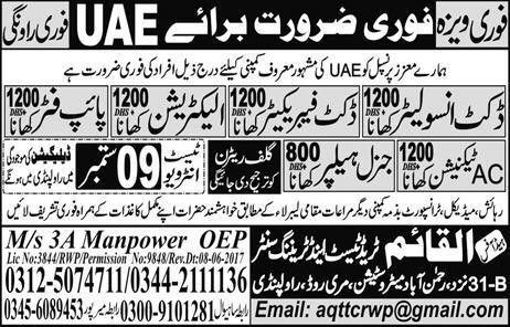 Jobs In UAE For Electrician, Pipe Fitter, General Helper, AC ...