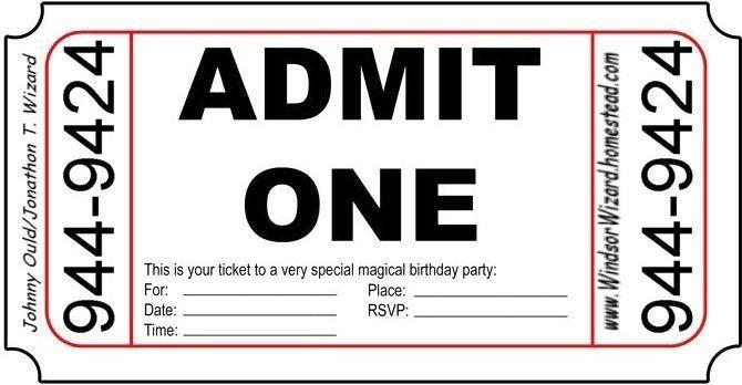Ticket Birthday Invitations - cloveranddot.Com