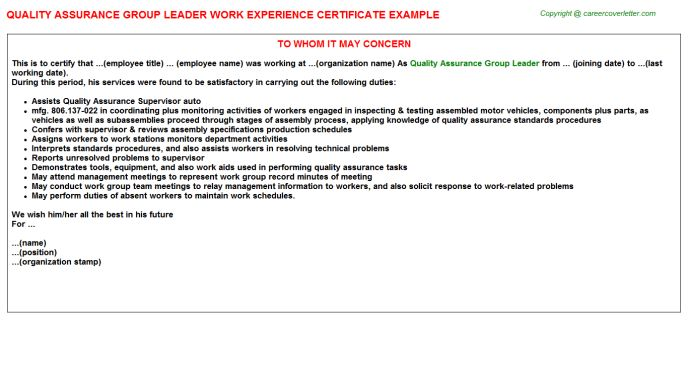 Food Safety Quality Assurance Coordinator Work Experience Letters