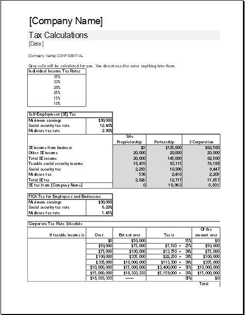 Corporate Tax Calculator Template | Excel Templates