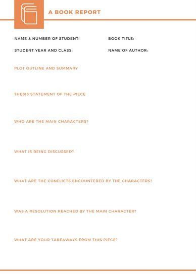 Orange and White Simple Non Fiction Book Report - Templates by Canva