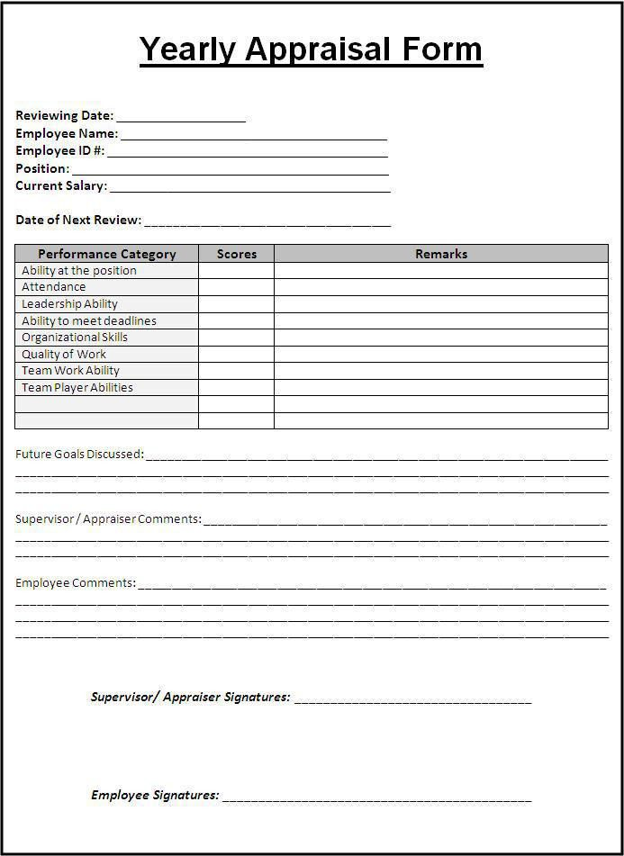 Sample performance Appraisal Form | My board | Pinterest